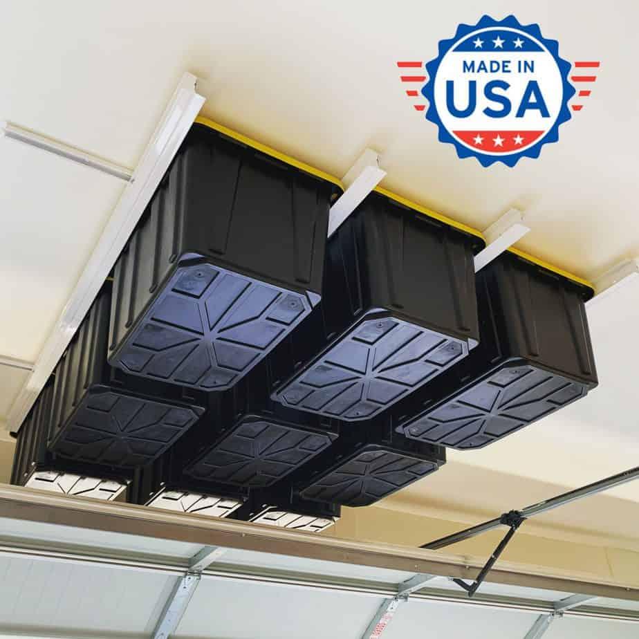 Overhead Garage organization system for totes/bins