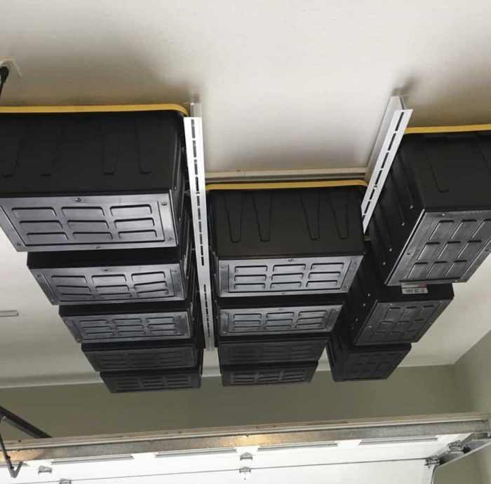 Tote Storage over garage door system